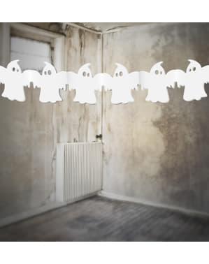 Grinalda de papel com fantasmas brancos - Halloween