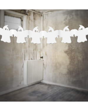 White ghosts garland made of paper - Halloween