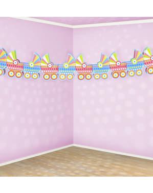 Kağıttan yapılmış çok renkli bebek arabaları garland - Bir Kız / Bir Erkek