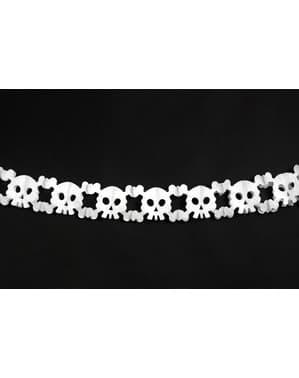 Garland papírból készült, fehér koponyák - Halloween