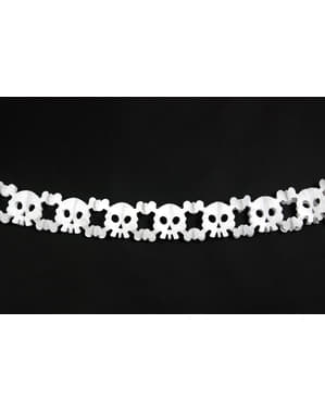 Guirlande têtes de morts blanches en papier - Halloween