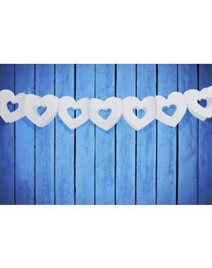Grinalda de papel de corações brancos ocos