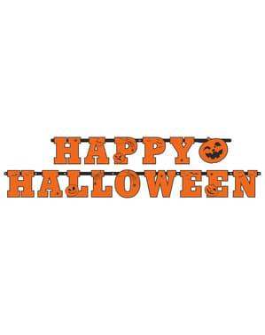 """""""Happy Halloween"""" garland dengan labu yang diperbuat daripada kertas - Halloween"""