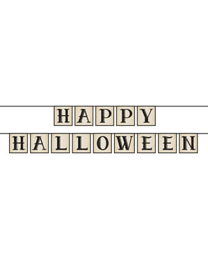 """Garland """"Happy Halloween"""" terbuat dari kertas"""
