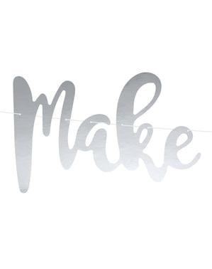 """कागज से बने चांदी में """"इच्छा बनाओ"""" माला"""