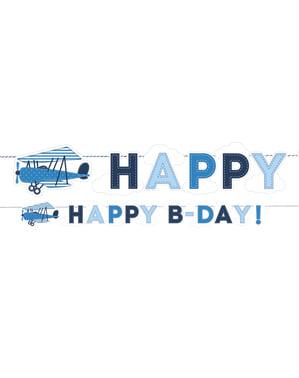 """""""जन्मदिन की शुभकामनाएं!"""" विमान के साथ नीले रंग में माला"""