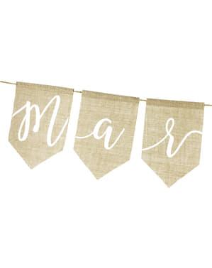 """जस्ट मैरिड"" बर्लैप गारलैंड - प्राकृतिक शादी"