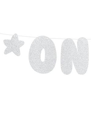 """Сребриста гирлянда със звезди и надпис """"One""""– Blue 1st Birthday"""