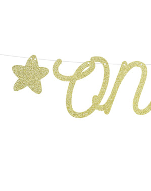 "Златиста гирлянда със звезди и надпис ""One""– Pink 1st Birthday"