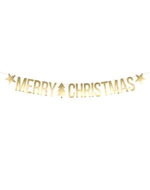"""""""Veselé Vianoce"""" veniec v zlate s hviezdami a vianočný stromček - Vianoce"""