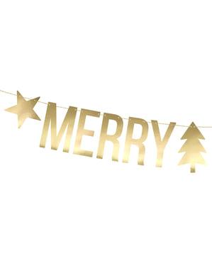 Гірлянда «З Різдвом» золотом з зірками і ялинками - Різдво