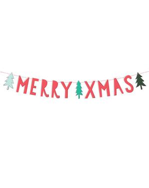 """""""Veselé Vianoce"""" girlanda v červenej farbe s vianočnými stromčekmi - Veselé Vianoce"""