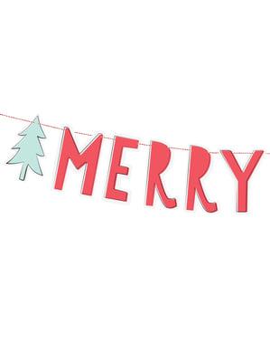 """Червена гирлянда с елхи """"Merry Xmas""""– Merry Xmas Collection"""