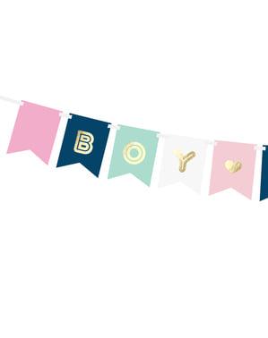 """Гирлянда със знаменца в пастелни цветове и надпис """"Boy or Girl"""""""