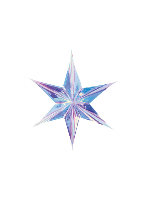 Iridescent hanging star made of paper measuring 40 cm - Iridescent