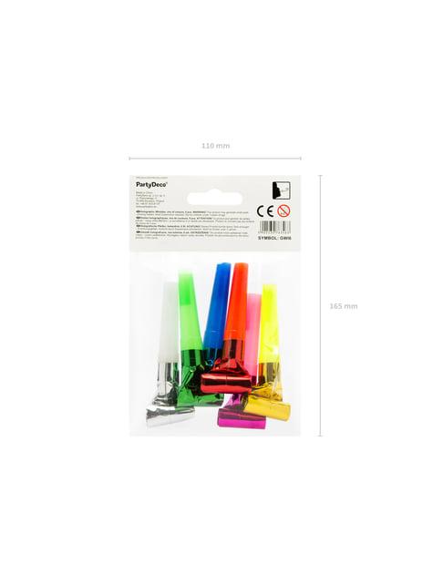 6 matasuegras holográficos variados - Colorful & holographic birthday - para decorar todo durante tu fiesta