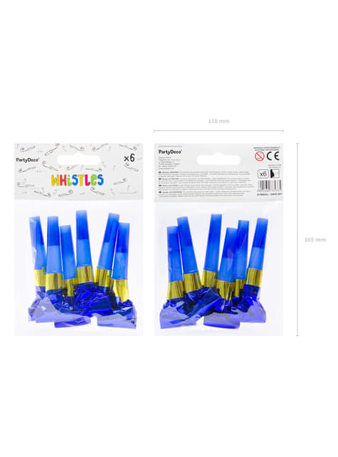6 Blue Holographic Party Blowers - Colorful & Holographic Birthday