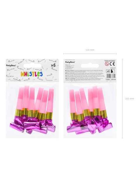 6 matasuegras fucsia holográfico - Colorful & holographic birthday