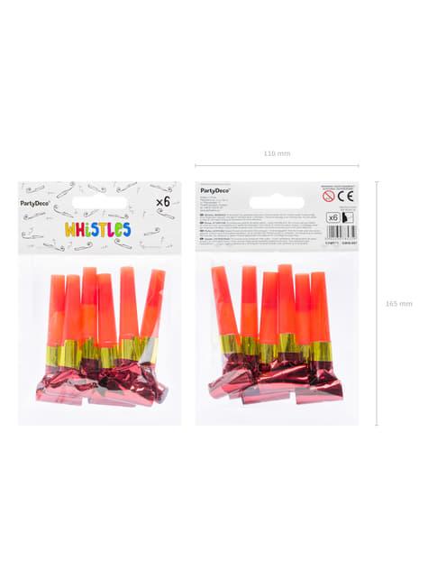 6 matasuegras rojo holográfico - Colorful & holographic birthday - barato