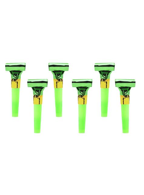 6 matasuegras verde holográfico - Colorful & holographic birthday
