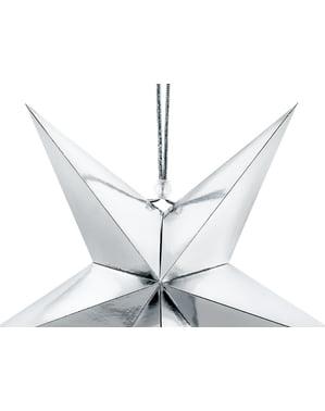 Étoile à suspendre argentée de 30 cm en papier