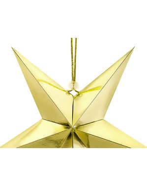 Hanging paper star in gold measuring 30 cm