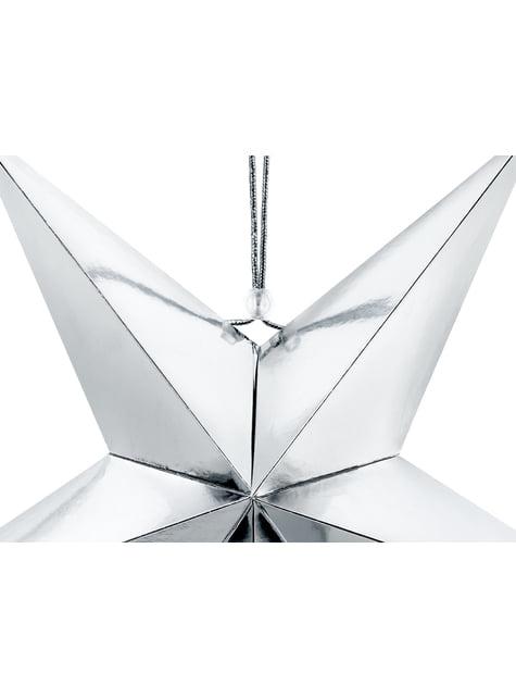 Estrella colgante plateada de 45 cm de papel - para tus fiestas