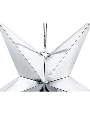 Függesztett papírcsillag ezüstben, 45 cm-es méretben