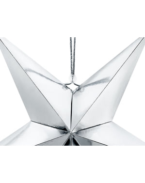 Srebrna wisząca dekoracja papierowa gwiazda 45cm