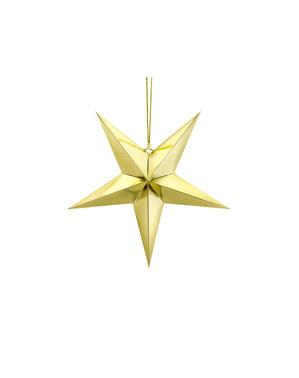 Estrella colgante dorada de 45 cm de papel