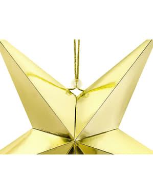 Roikkuva paperitähti kultaisena 45cm