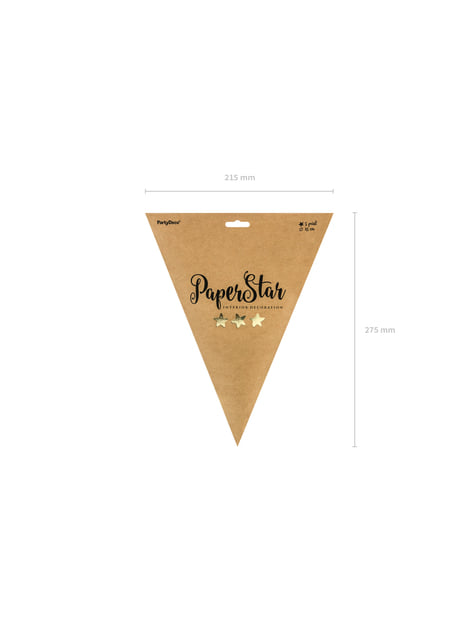 Hanging paper star in gold measuring 45 cm