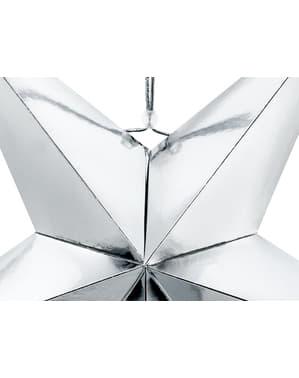 Stern Deko zum Aufhängen aus Papier silber 70 cm