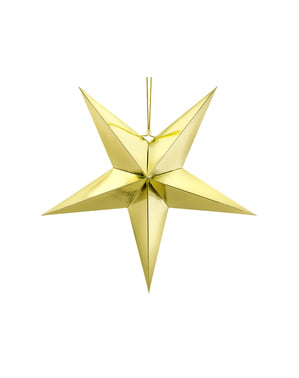 Hanging paper star in gold measuring 70 cm