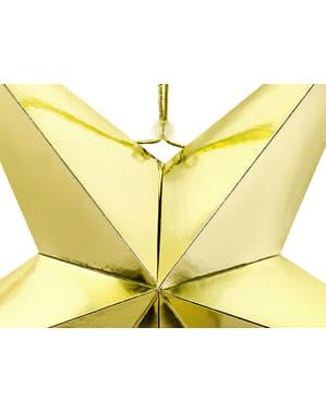 Złota wisząca dekoracja papierowa gwiazda 70cm