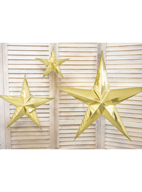 Estrella colgante dorada de 70 cm de papel - comprar