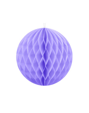 Honeycomb paper sphere in lilac measuring 10 cm