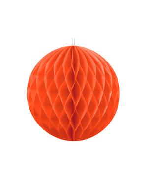 Honeycomb paper sphere in orange measuring 10 cm