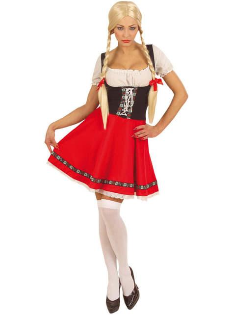 Disfraz de Oktoberfest rojo y blanco para mujer