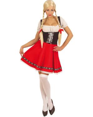 Oktoberfest Kostyme til Dame i Rødt & Hvit