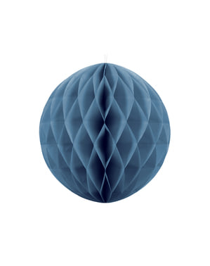 Honeycomb paper sphere in blue measuring 20 cm