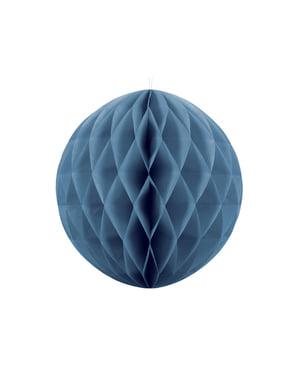 Honingraat papieren bol in blauw van 20 cm