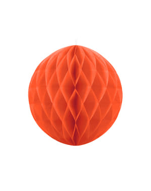 Honeycomb paper sphere in orange measuring 20 cm