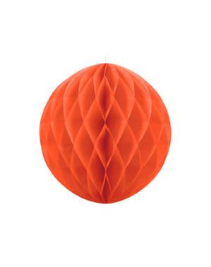 Pomarańczowa dekoracja papierowa kula honeycomb 20cm