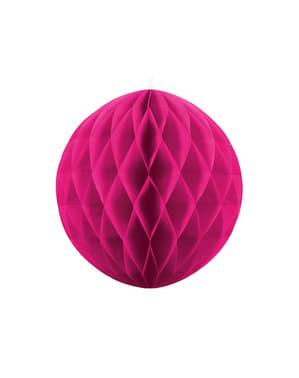 Ciemnoróżowa dekoracja papierowa kula honeycomb 20cm