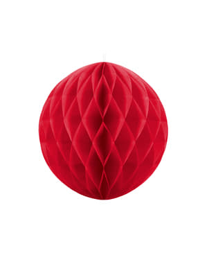 Honeycomb paper sphere in red measuring 20 cm