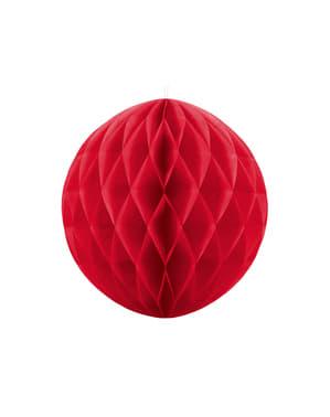 Honingraat papieren bol in rood van 20 cm