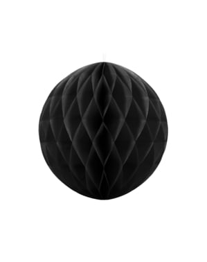 Honeycomb paper sphere in black measuring 20 cm