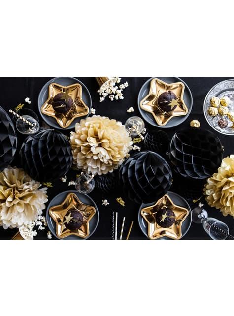 Esfera negra de 20 cm de nido de abeja - para tus fiestas