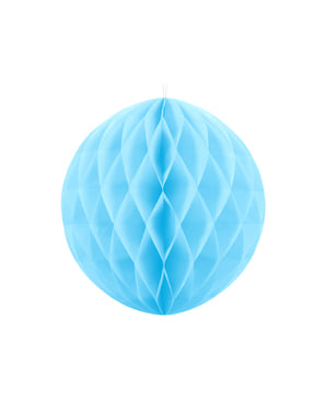 Honeycomb paper sphere in sky blue measuring 20 cm